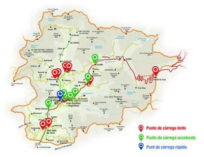 Mapa dels carregadors per a vehicles elèctrics