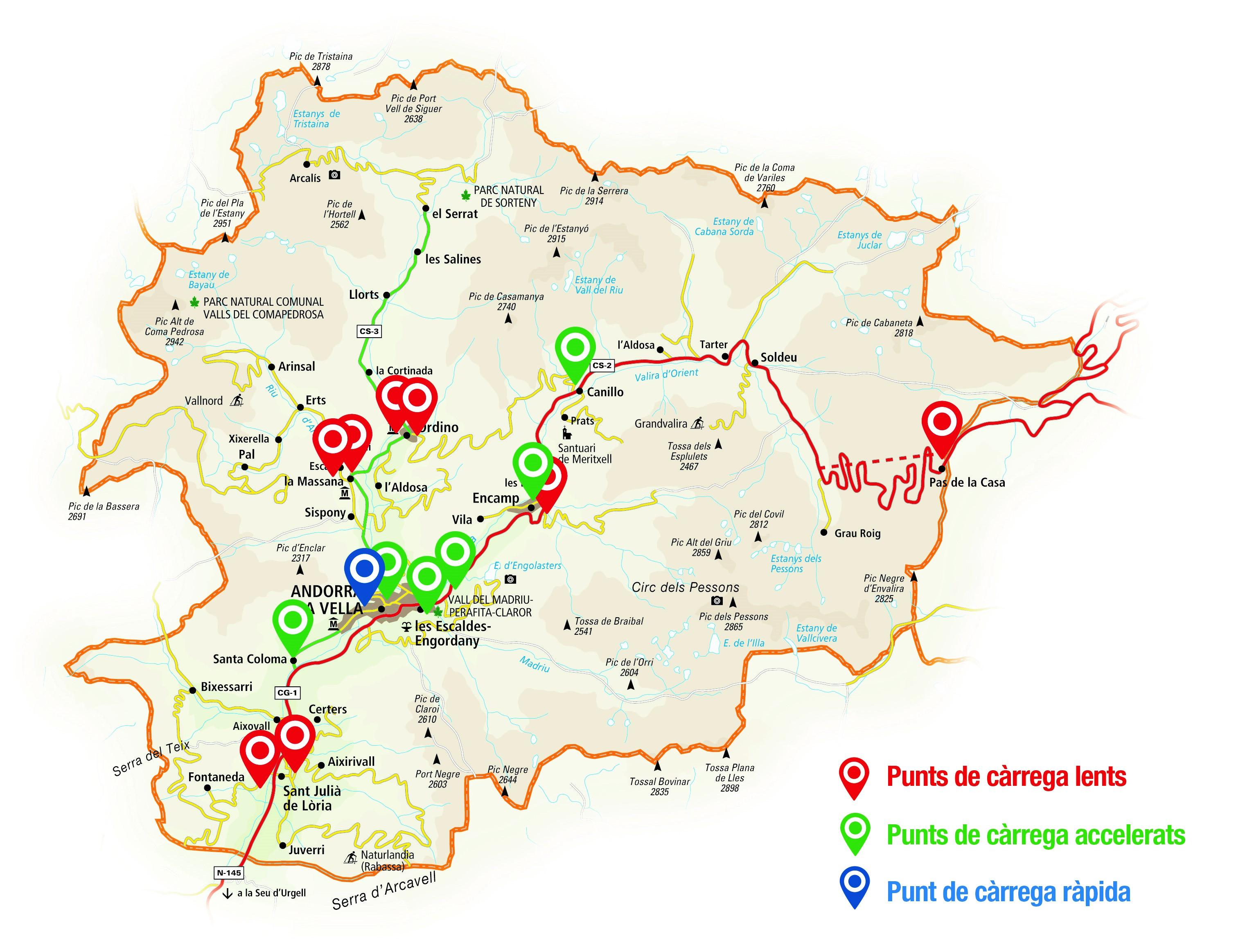 Punts de càrrega vehicle elèctric Andorra